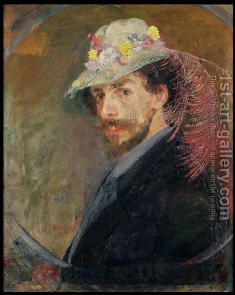 Self-Portrait-In-A-Hat-With-Flowers,-1883